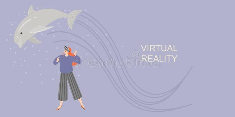 Bandera con una muchacha en vidrios de la realidad virtual que sonríe y que estira las manos al delfín virtual Juegue y aprenda c stock de ilustración