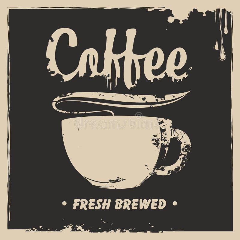 Bandera con una taza de café caliente y de un chapoteo libre illustration