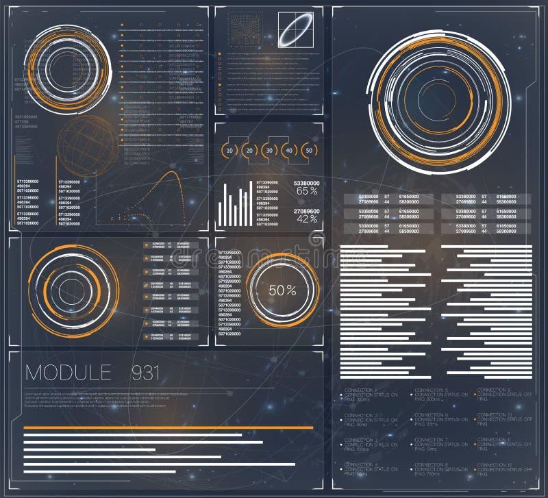 bandera Concepto de la conexión de la tecnología Interfaz de usuario gráfica futurista Sistema del icono del ordenador Icono de U stock de ilustración