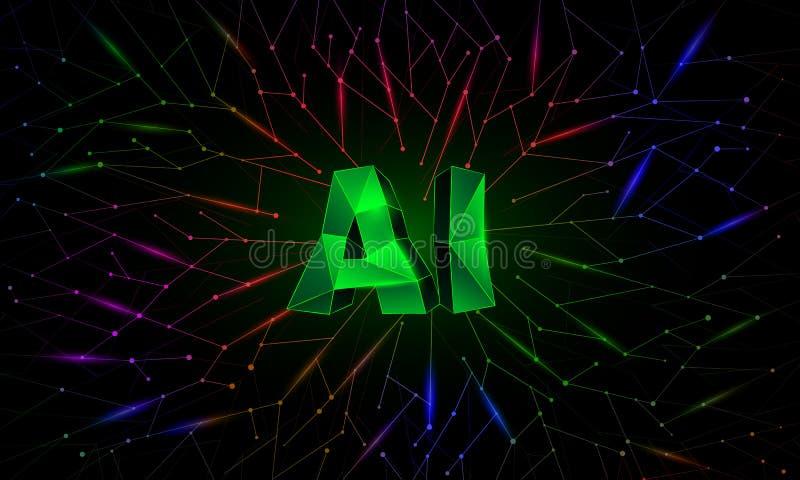 Bandera conceptual de la inteligencia artificial con las redes neuronales del polígono en fondo libre illustration
