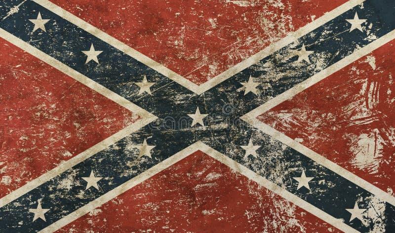 Bandera confederada americana de los E.E.U.U. del viejo grunge stock de ilustración