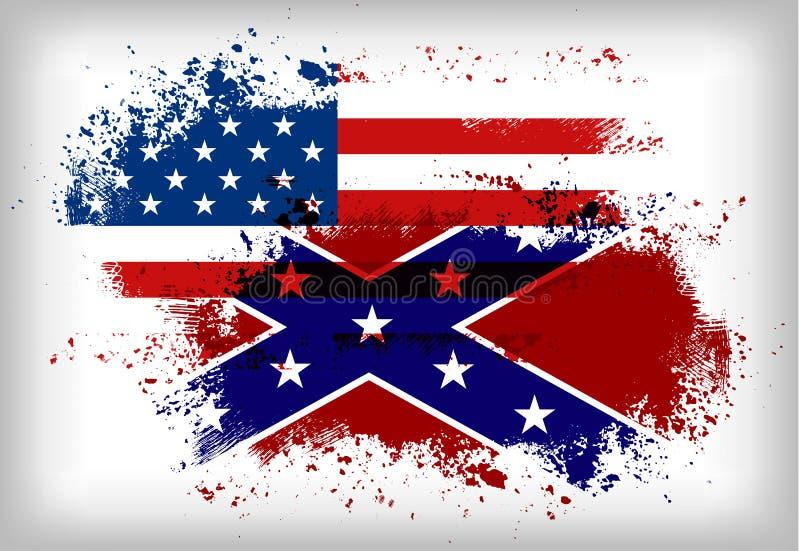 Bandera confederada contra Bandera de unión Concepto de la guerra civil stock de ilustración