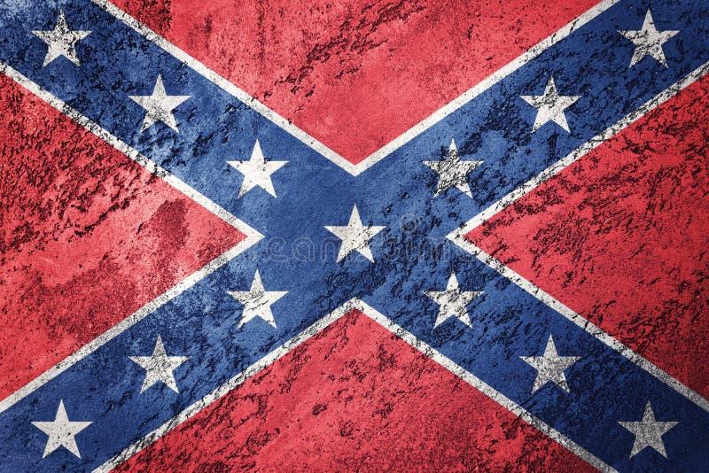 Bandera confederada del Grunge Bandera de la confederación con textura del grunge stock de ilustración