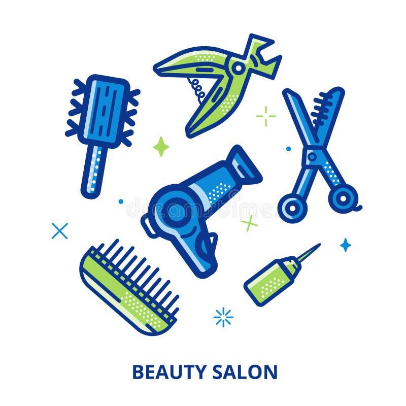 Bandera cosmética del círculo del vector del salón de belleza Línea símbolos para la moda, peluqueros del arte Accesorios del ico libre illustration