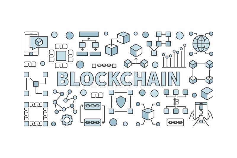 Bandera creativa de la tecnología hecha con los iconos y palabra de la cadena de bloque stock de ilustración