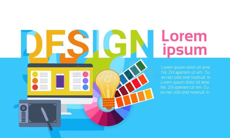Bandera creativa de Work Equipment Concept del diseñador del diseño web gráfico ilustración del vector