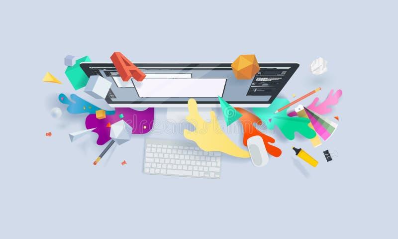 Bandera creativa del concepto stock de ilustración