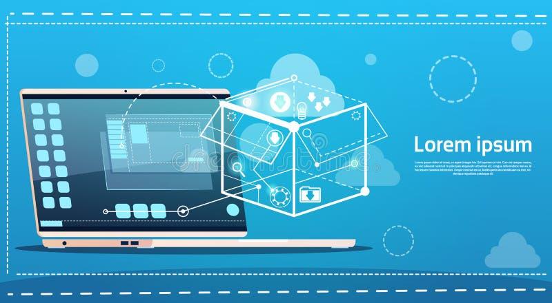Bandera creativa del negocio del concepto de la idea del informe de la reunión de reflexión del ordenador portátil ilustración del vector