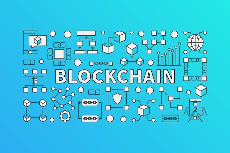 Bandera creativa hecha con la línea iconos de la bloque-cadena ilustración del vector