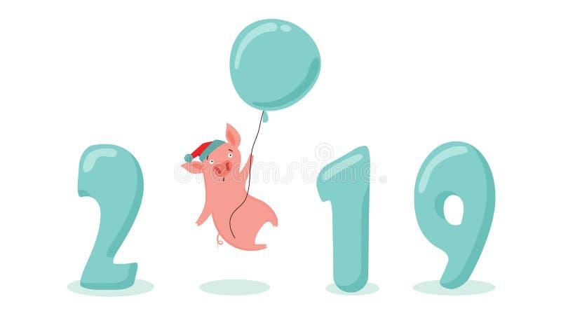 Bandera creativa por nuevo 2019 años con el cerdo lindo Concepto, plantilla vertical del vector Símbolo del año en el chino ilustración del vector