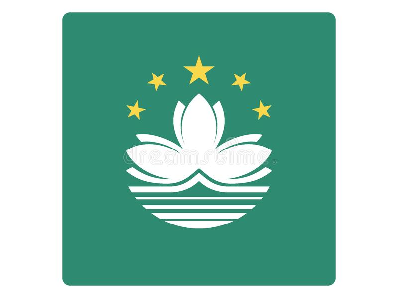 Bandera cuadrada de Macao ilustración del vector