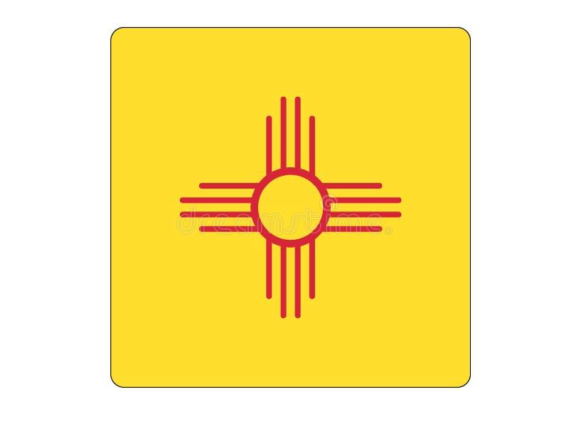 Bandera cuadrada del estado de los E.E.U.U. de New México ilustración del vector