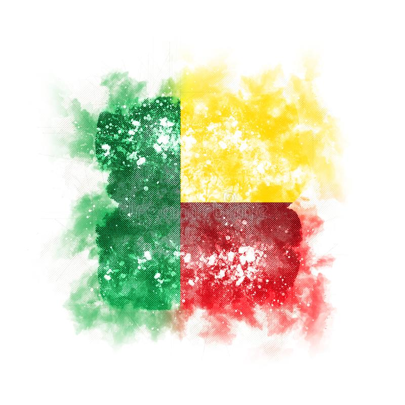 Bandera cuadrada del grunge de Benin libre illustration