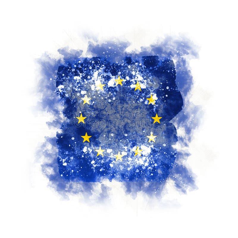 Bandera cuadrada del grunge de la unión europea ilustración del vector