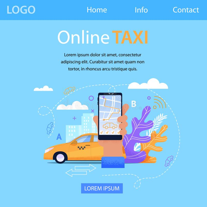 Bandera cuadrada del taxi en línea Aplicación móvil stock de ilustración