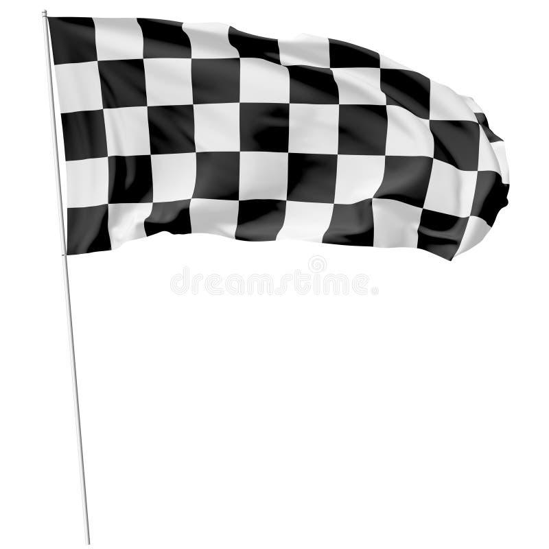 Bandera a cuadros en asta de bandera larga libre illustration