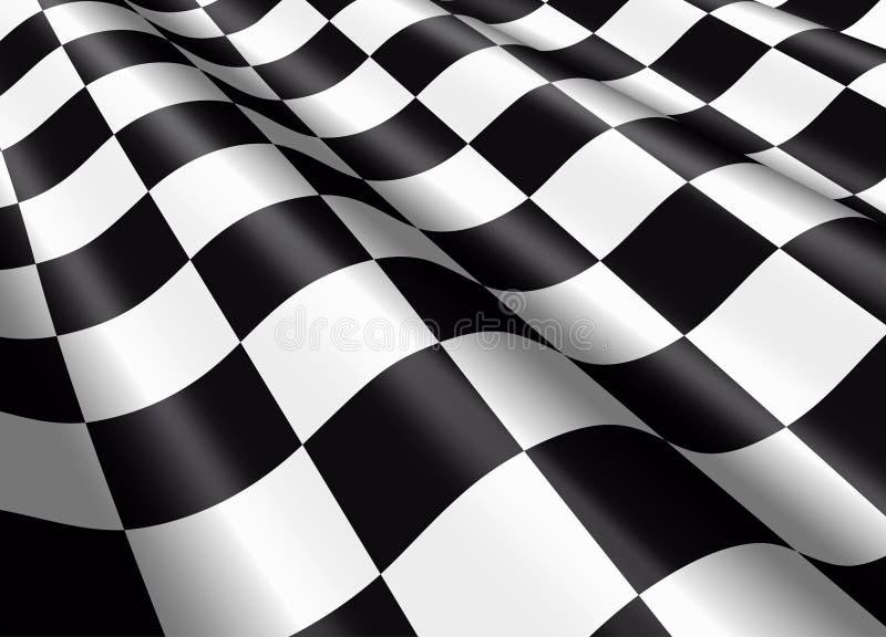Bandera a cuadros que agita ilustración del vector
