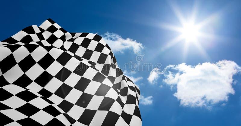 Bandera a cuadros que agita contra llamarada de la lente imagenes de archivo