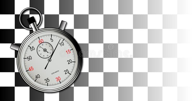 Bandera a cuadros y cronómetro stock de ilustración