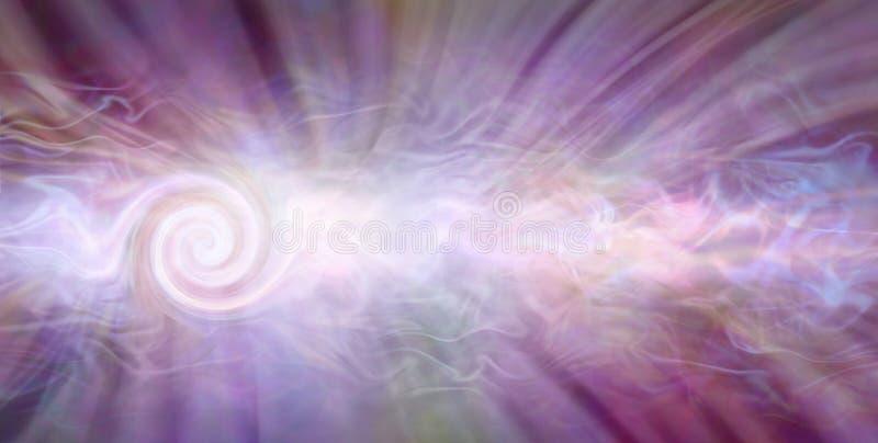 Bandera curativa hermosa de la energía del vórtice que tuerce en espiral stock de ilustración