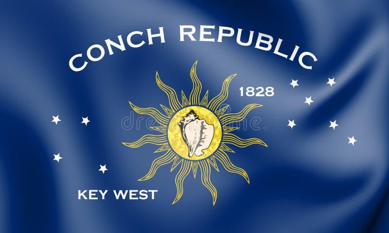 bandera 3D de Key West la Florida, los E.E.U.U. stock de ilustración