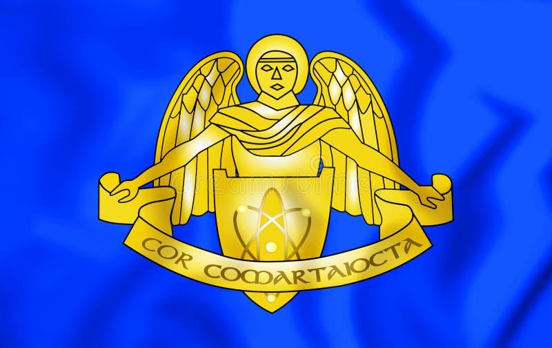 bandera 3D de las comunicaciones y del cuerpo de los servicios informativos, Irlanda de las fuerzas de defensa ilustración del vector