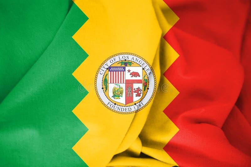 bandera 3D de Los Ángeles, los E.E.U.U. stock de ilustración