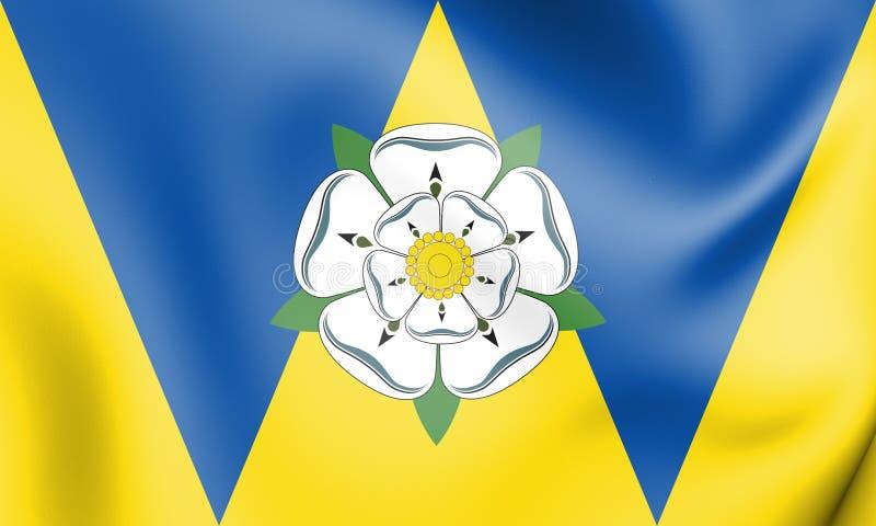 bandera 3D de West Yorkshire, Inglaterra stock de ilustración
