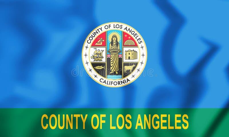 bandera 3D del condado de Los Angeles y de x28; California& x29; , Los E.E.U.U. ilustración del vector