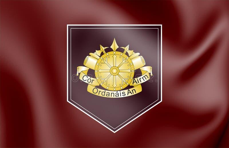 bandera 3D del cuerpo de la artillería de las fuerzas de defensa, Irlanda ilustración del vector
