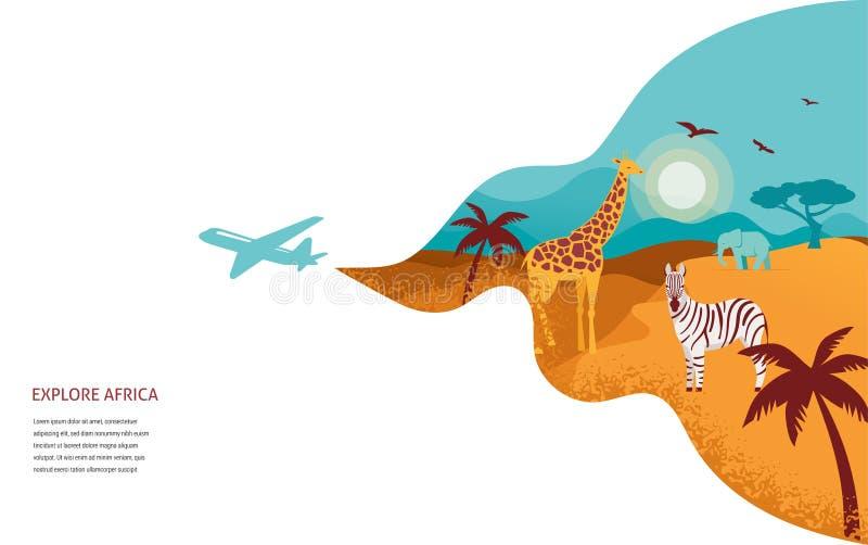 Bandera de África, ejemplo del safari, animales, símbolos tribales del vector stock de ilustración