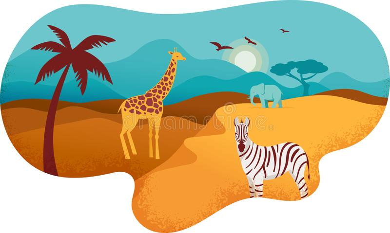 Bandera de África, ejemplo del safari, animales, símbolos tribales del vector ilustración del vector