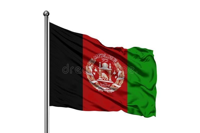 Bandera de Afganistán que agita en el viento, fondo blanco aislado stock de ilustración