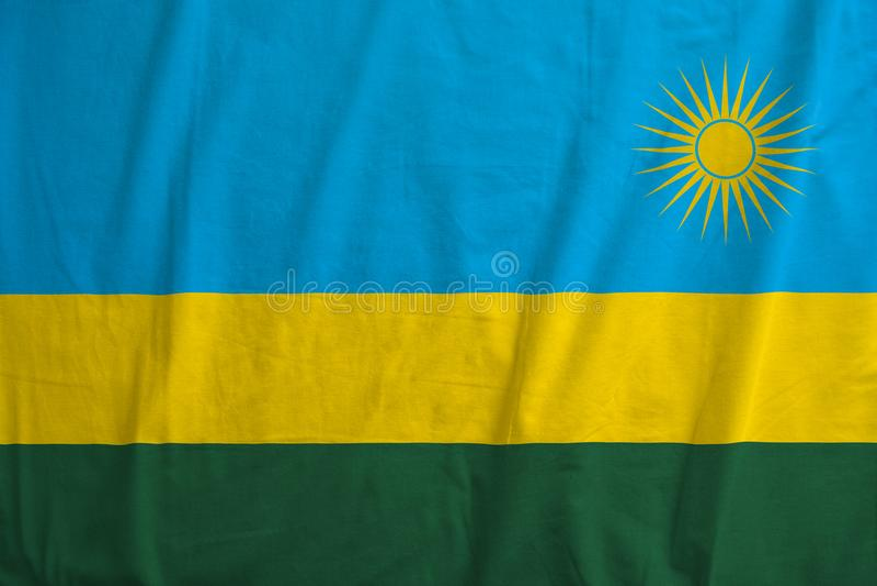 Bandera de agitar de Rwanda imagen de archivo libre de regalías