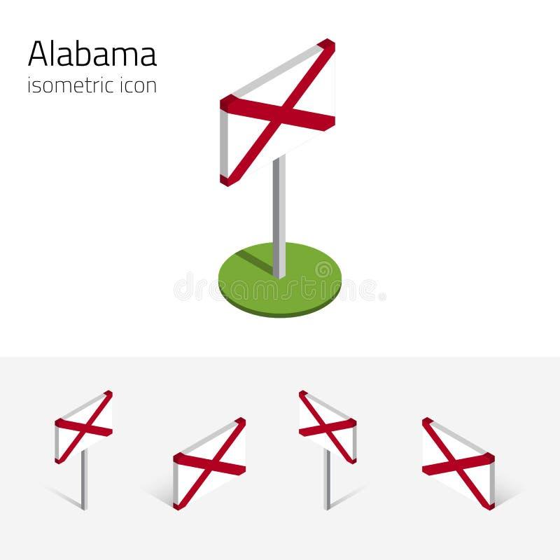 Bandera de Alabama los E.E.U.U., iconos planos isométricos del vector 3D libre illustration