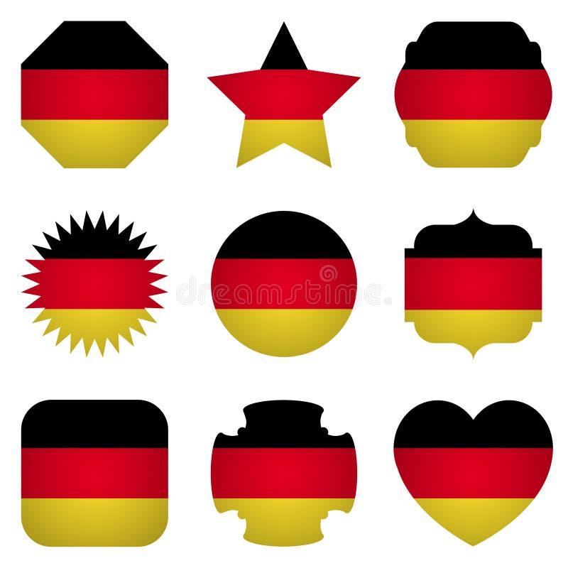 Bandera de Alemania con diversas formas en un fondo blanco libre illustration