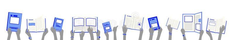 Bandera de alumnos sostener y leer los libros azules de la biblioteca en manos ilustración del vector