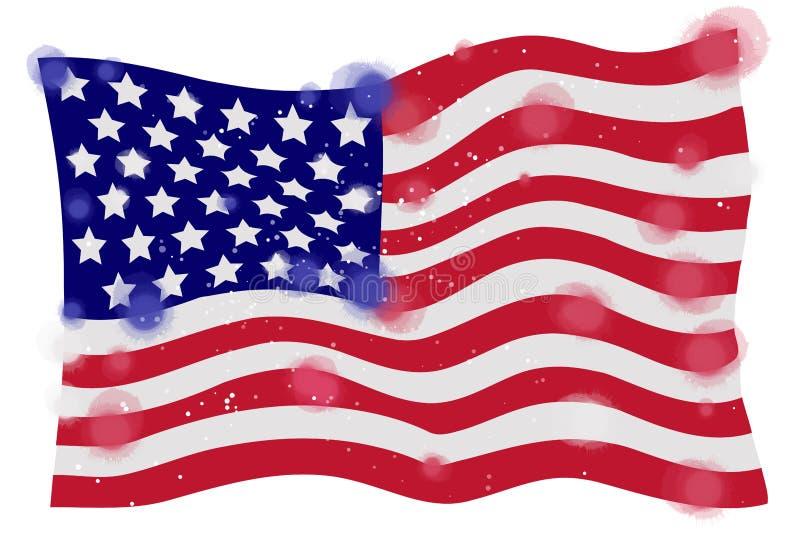 Bandera de América, acuarela en el fondo blanco Pai del arte de Digitaces libre illustration