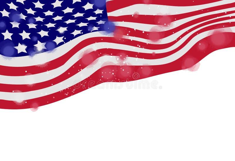 Bandera de América, acuarela en el fondo blanco Pai del arte de Digitaces stock de ilustración