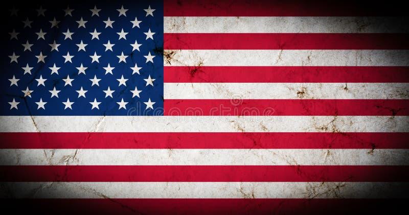 Bandera de América con vieja textura del grunge stock de ilustración
