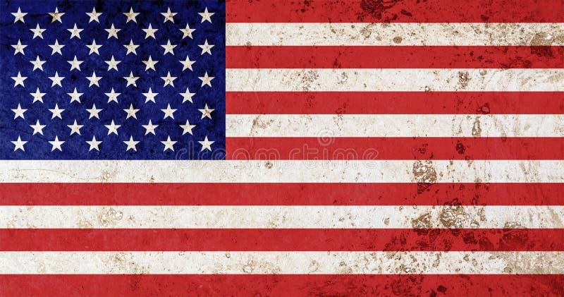 Bandera de América con vieja textura del grunge ilustración del vector