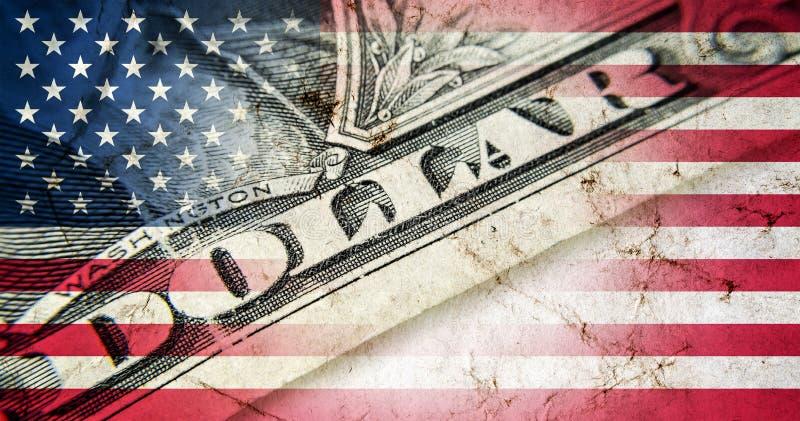 Bandera de América con vieja textura del grunge libre illustration