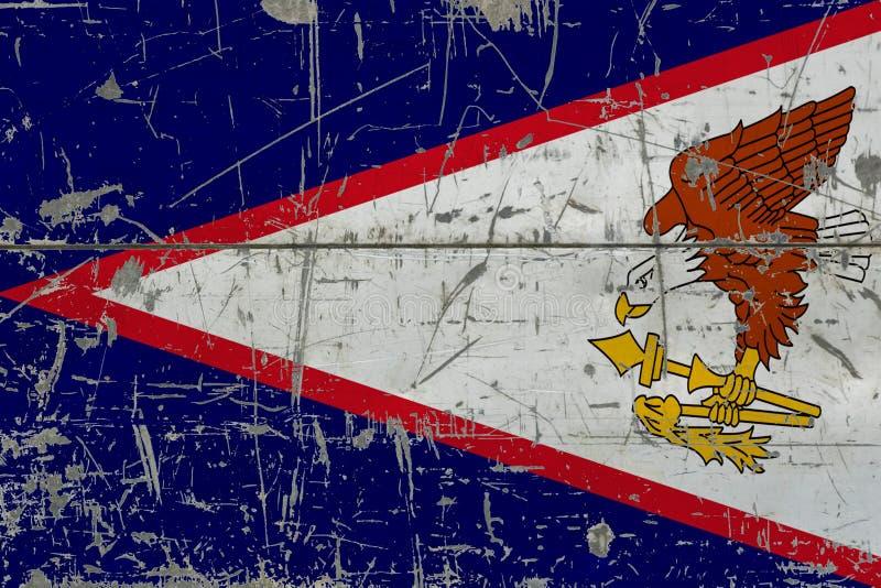 Bandera de American Samoa del Grunge en vieja superficie de madera rasguñada Fondo nacional del vintage fotografía de archivo libre de regalías