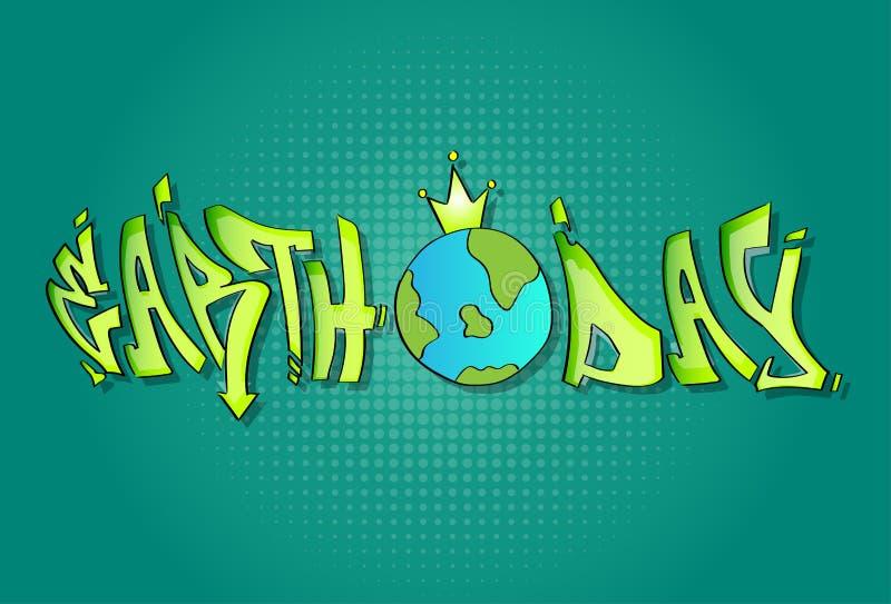 Bandera de April Holiday Globe Wear Crown del mundo del Día de la Tierra ilustración del vector