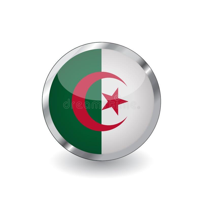 Bandera de Argelia, botón con el marco metálico y la sombra icono del vector de la bandera de Argelia, insignia con efecto brilla stock de ilustración