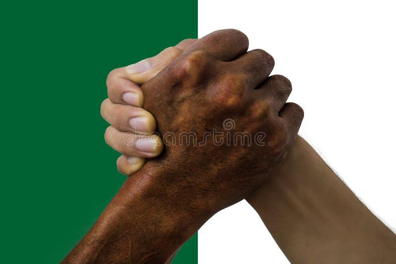 Bandera de Argelia, integraci?n de un grupo multicultural de gente joven foto de archivo libre de regalías
