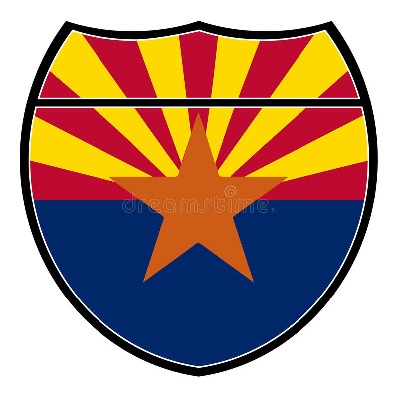 Bandera de Arizona en una muestra de un estado a otro ilustración del vector