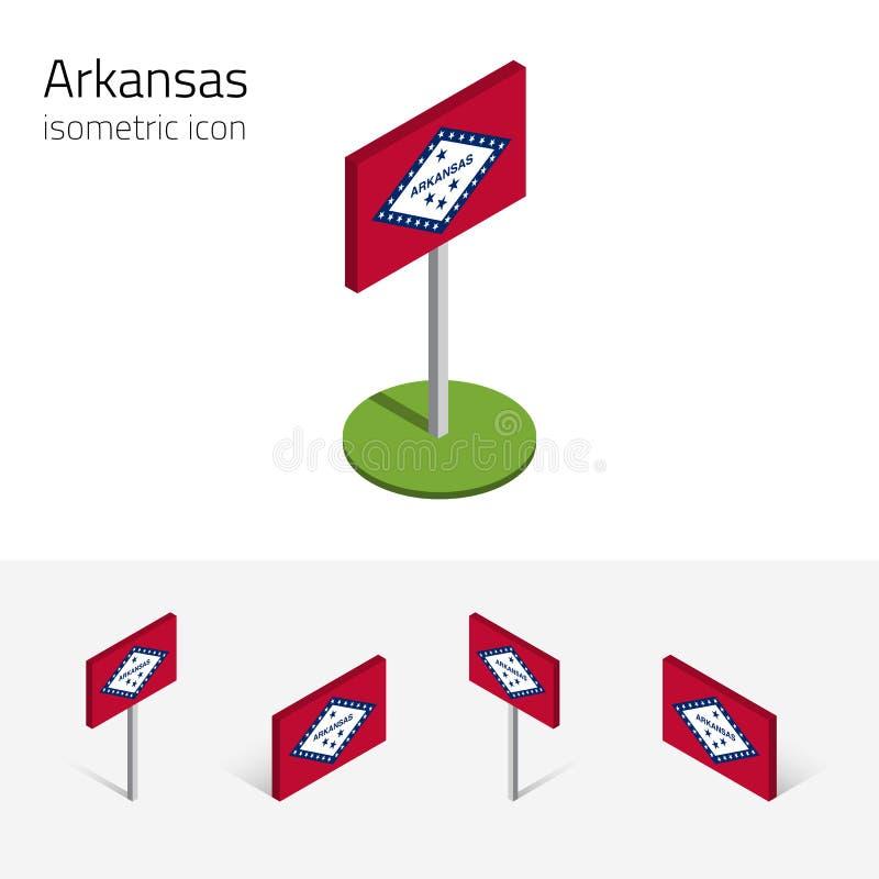Bandera de Arkansas los E.E.U.U., iconos planos isométricos del vector 3D libre illustration