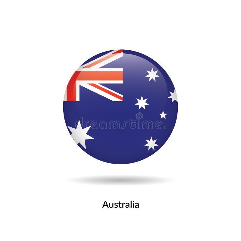 Bandera de Australia - brillante redondo ilustración del vector