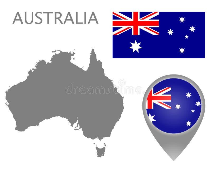 Bandera de Australia, mapa en blanco e indicador del mapa stock de ilustración